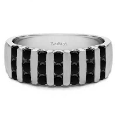 0.26 Carat Black Three Row Bar Set Wedding Ring