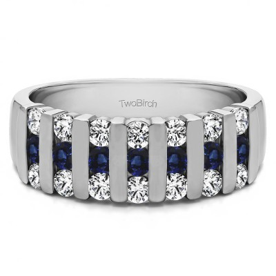 0.26 Carat Sapphire and Diamond Three Row Bar Set Wedding Ring