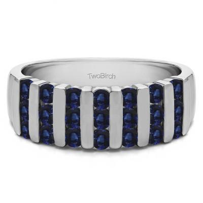 0.26 Carat Sapphire Three Row Bar Set Wedding Ring