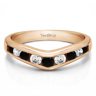 1 Ct. Black and White Nine Round Stone Channel Set Chevron Contour Wedding Band in Rose Gold