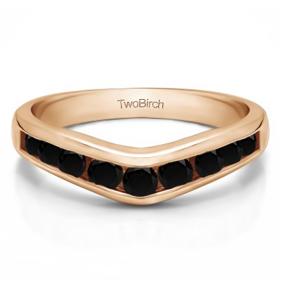 1 Ct. Black Nine Round Stone Channel Set Chevron Contour Wedding Band in Rose Gold
