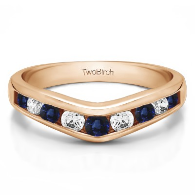 1 Ct. Sapphire and Diamond Nine Round Stone Channel Set Chevron Contour Wedding Band in Rose Gold
