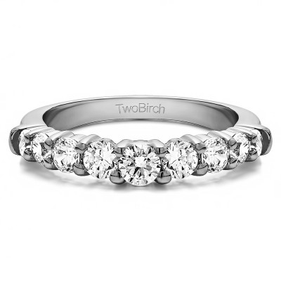 0.25 Ct. Nine Round Stone Double Shared Prong Curved Shadow Band With Cubic Zirconia Mounted in Sterling Silver (Size 8)