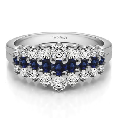 0.49 Carat Sapphire and Diamond Domed Three Row Shared Prong Anniversary Ring
