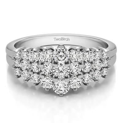 0.49 Carat Domed Three Row Shared Prong Anniversary Ring