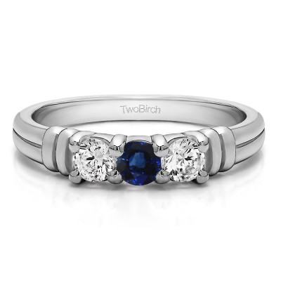 0.48 Carat Sapphire and Diamond Three Stone U Set Ribbed Shank Wedding Ring