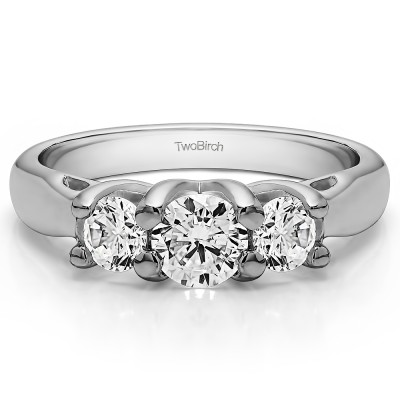 1 Carat Three Stone Trellis Set Wedding Ring