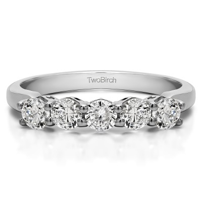 Sterling Silver CZ .5 CT Five Stone Prong with Designed Profile Wedding Ring (Size 7)