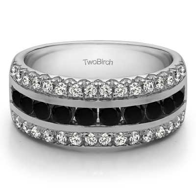 0.75 Carat Black and White Three Row Fishtail Set Anniversary Ring