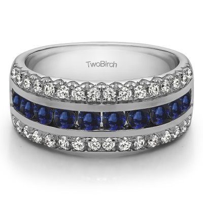 0.75 Carat Sapphire and Diamond Three Row Fishtail Set Anniversary Ring