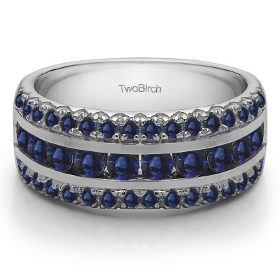 0.75 Carat Sapphire Three Row Fishtail Set Anniversary Ring