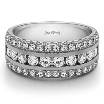 0.98 Carat Three Row Fishtail Set Anniversary Ring