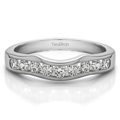 0.48 Ct. Eight Round Stone Channel Contour Wedding Band
