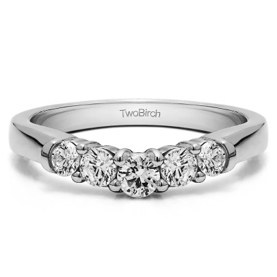 0.25 Ct. Five Stone Graduated Shared Prong Contoured Wedding Ring With Cubic Zirconia Mounted in Sterling Silver (Size 4)