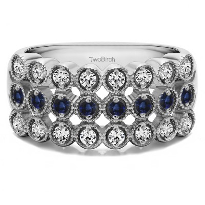 0.72 Carat Sapphire and Diamond Millgrained Bezel Three Row Anniversary Band