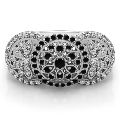 0.49 Carat Black and White Pave Set Flower Anniversary Ring