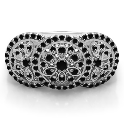 0.49 Carat Black Pave Set Flower Anniversary Ring