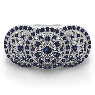 0.49 Carat Sapphire Pave Set Flower Anniversary Ring