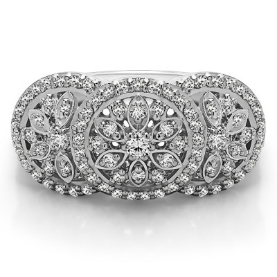 0.49 Carat Pave Set Flower Anniversary Ring