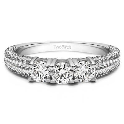 0.75 Carat Three Stone Engraved Shank Wedding Band