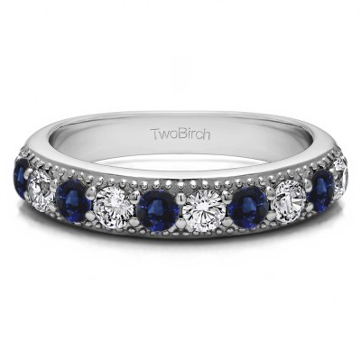 0.5 Carat Sapphire and Diamond Millgrained Double Shared Prong Vintage Wedding Ring