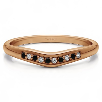 0.1 Ct. Black and White Ten Stone Thin Contour Wedding Band in Rose Gold