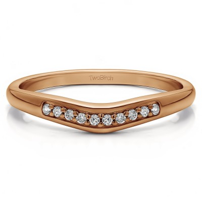 0.1 Ct. Ten Stone Thin Contour Wedding Band in Rose Gold