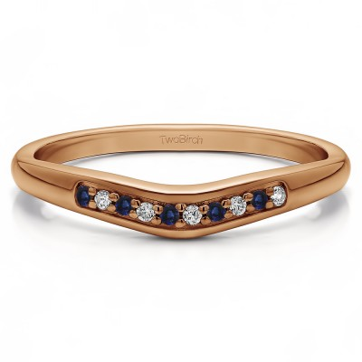 0.1 Ct. Sapphire and Diamond Ten Stone Thin Contour Wedding Band in Rose Gold
