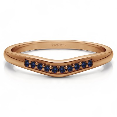 0.1 Ct. Sapphire Ten Stone Thin Contour Wedding Band in Rose Gold