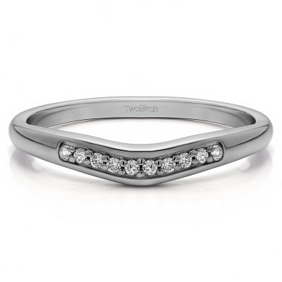 0.1 Ct. Ten Stone Thin Contour Wedding Band