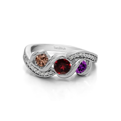 Genuine Birthstone Twirl Set Three Stone Anniversary Wedding Ring(0.5 Carat)