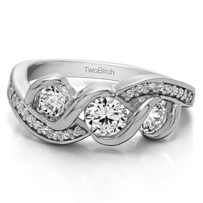 0.5 Carat Twirl Set Three Stone Anniversary Wedding Ring