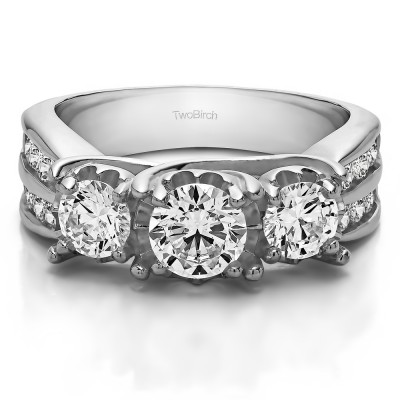 0.98 Carat Three Stone Shared Prong Wedding Anniversary Band