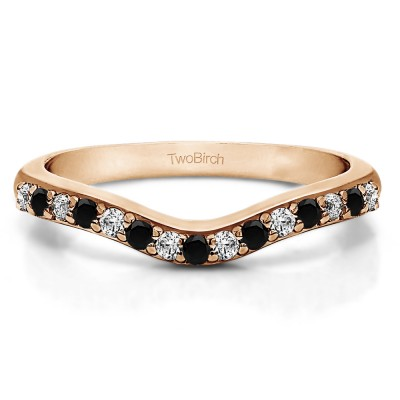0.5 Ct. Black and White Fifteen Stone Delicate Curved Wedding Ring in Rose Gold