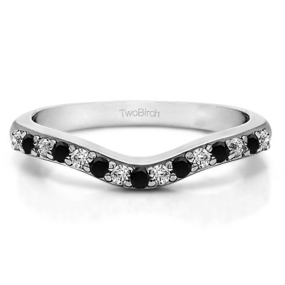 0.5 Ct. Black and White Fifteen Stone Delicate Curved Wedding Ring
