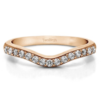 0.24 Ct. Fifteen Stone Delicate Curved Wedding Ring in Rose Gold