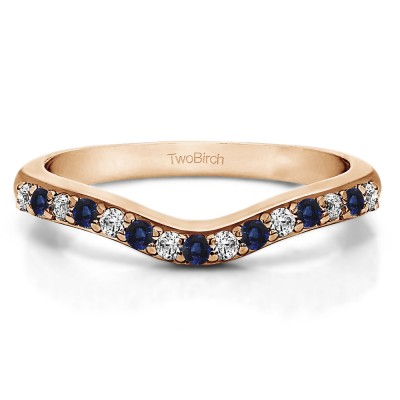 0.5 Ct. Sapphire and Diamond Fifteen Stone Delicate Curved Wedding Ring in Rose Gold