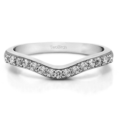 0.5 Ct. Fifteen Stone Delicate Curved Wedding Ring With Cubic Zirconia Mounted in Sterling Silver