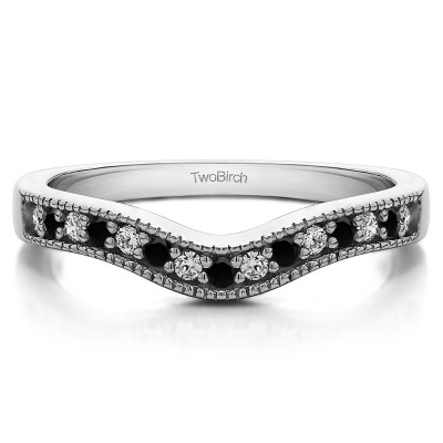 0.5 Ct. Black and White Vintage Contour Band with Milgrained Edges