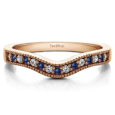 0.5 Ct. Sapphire and Diamond Vintage Contour Band with Milgrained Edges in Rose Gold