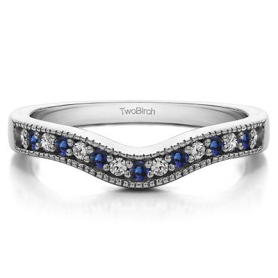 0.5 Ct. Sapphire and Diamond Vintage Contour Band with Milgrained Edges