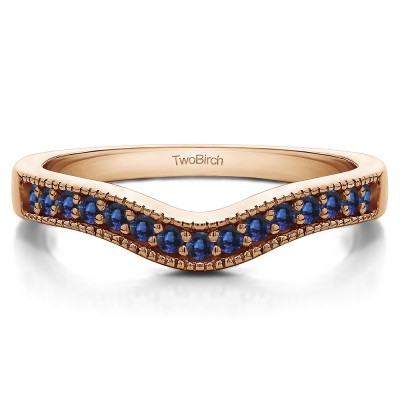 0.5 Ct. Sapphire Vintage Contour Band with Milgrained Edges in Rose Gold