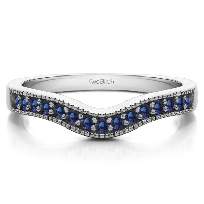 0.24 Ct. Sapphire Vintage Contour Band with Milgrained Edges