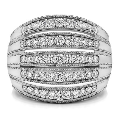 0.75 Carat Large Domed Milgrained Anniversary Band