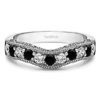 1 Ct. Black and White Vintage Filigree & Milgrained Curved Wedding Band