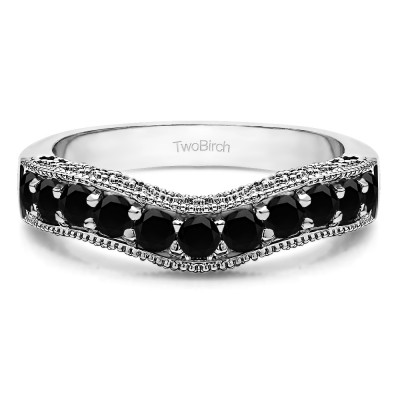 1 Ct. Black Vintage Filigree & Milgrained Curved Wedding Band