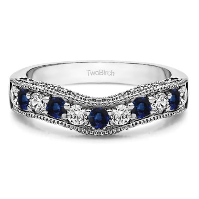 1 Ct. Sapphire and Diamond Vintage Filigree & Milgrained Curved Wedding Band