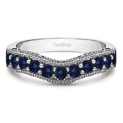 0.75 Ct. Sapphire Vintage Filigree & Milgrained Curved Wedding Band