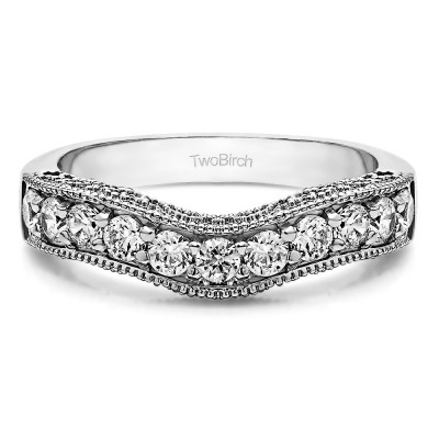 1 Ct. Vintage Filigree & Milgrained Curved Wedding Band