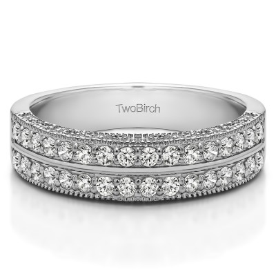 0.48 Carat Double Row Vintage Filigree Millgrained Wedding Band